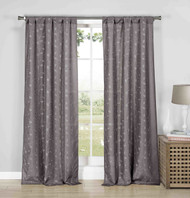 "Set of Two (2) Gray Semi Sheer Rod Pocket Window Curtain Panels: Silver Metallic Leaf and Branch Design, 84"" Long"