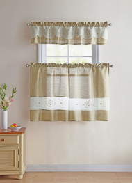 Taupe/Gold Sheer 3 PC Window Curtain Set with Embroidered Coffee Design: 1 Valance 2 Tiers Panels 36 IN long