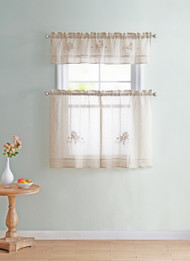"Beige Sheer 3 PC Window Curtain Set with Embroidered Floral Design. 1 Valance, 2 Tiers Panels 36""L Each"