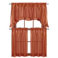 "3 PC Window Curtain Set: Pleated Ruffle, 1 Swag Valance, 2-36""L Tiers Panels (Rust)"