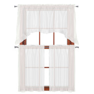 "3 PC Window Curtain Set: Pleated Ruffle, 1 Swag Valance, 2-36""L Tiers Panels (White)"