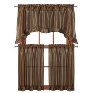 "3 PC Window Curtain Set: Pleated Ruffle, 1 Swag Valance, 2-36""L Tiers Panels (Chocolate Brown)"