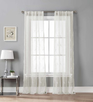 Set of Two (2) Off White Sheer Window Curtain Panels Floral Trellis Design, Rod Pockets 96 IN long