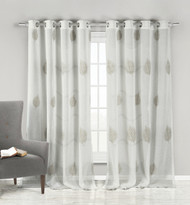 Set of Two (2) Linen Blend Sheer Off White Grommet Window Curtain Panel Pair with Taupe Leaf Design 84in Long