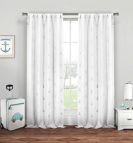 "Set of Two (2) Pure White Sheer Rod Pocket Window Curtain Panels: Silver Metallic Anchor Design, 84"" Long"