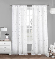 "Set of Two (2) Pure White Sheer Rod Pocket Window Curtain Panels: Silver Metallic Small Triangle Design, 84"" Long"