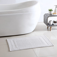 100% Cotton Hotel Step out Bath Mat Ivory 17 in X 24 in (White)