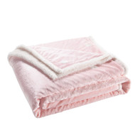 "Pink Reversible Sherpa Plush Fleece Decorative Throw Blanket: Heart Design, Soft and Plush, 50"" x 60"""