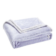 "Lavender Reversible Sherpa Plush Fleece Decorative Throw Blanket: Heart Design, Soft and Plush, 50"" x 60"""