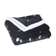 "Navy Reversible Sherpa Plush Fleece Decorative Throw Blanket: Star Design, Soft and Plush, 50"" x 60"""