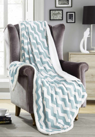 "Blue Reversible Sherpa Plush Fleece Decorative Throw Blanket: Chevron Design, Soft and Plush, 50"" x 60"""