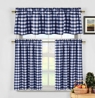 3 Piece Cotton Rich Small Kitchen Window Set: Gingham Check Design, One Valance, Two Tiers 24 IN Long (Navy and White)