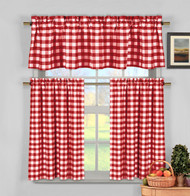 3 Piece Cotton Rich Small Kitchen Window Set: Gingham Check Design, One Valance, Two Tiers 24 IN Long (Red and White)