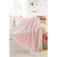 "Ultra Soft Reversible Sherpa Plush Fleece Throw Blanket Chevron Design, 50"" x 60"", Pretty Pink"