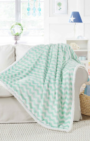 "Ultra Soft Reversible Sherpa Plush Fleece Throw Blanket Chevron Design, 50"" x 60"", Mint"