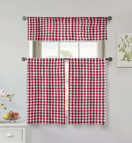 Home Maison Collection 3 Piece Small Window Curtain Set: Buffalo Check Design, One Valance, Two Tiers 36 IN Long 100% Cotton (Red and White)