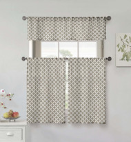 Kensie Home collection 3 Piece Small Window Curtain Set Moroccan Tile Design One Valance, Two Tiers 36 IN Long 100% Cotton (Taupe and White)