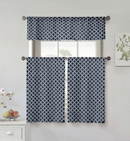 Kensie Home collection 3 Piece Small Window Curtain Set Moroccan Tile Design One Valance, Two Tiers 36 IN Long 100% Cotton (Navy and White)