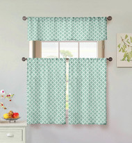 Kensie Home collection 3 Piece Small Window Curtain Set Moroccan Tile Design One Valance, Two Tiers 36 IN Long 100% Cotton (Mint and White)