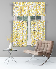 Yellow Gray White Vera Neumann Collection 3 Piece Small Window Curtain Set Floral Design, Cotton Blend One Valance, Two Tiers 36 IN Long