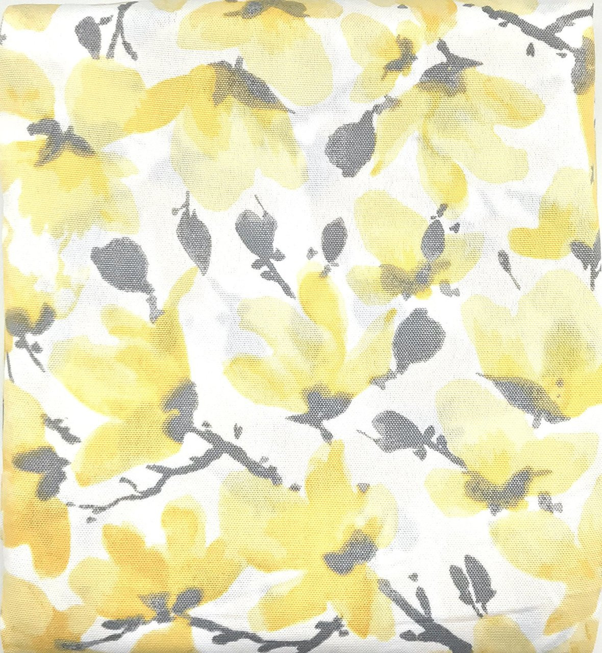 Vera Neumann Collection Gray Yellow White Floral Print Fabric Shower