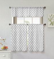 Kensie Home collection 3 Piece Small Window Curtain Set: Heart Design, One Valance, Two Tiers 36 IN Long, 100% Cotton (Silver and White)