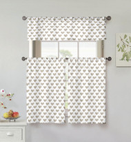 Kensie Home collection 3 Piece Small Window Curtain Set: Heart Design, One Valance, Two Tiers 36 IN Long, 100% Cotton (Taupe and White)