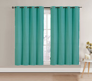 "Single (1) Blackout Window Curtain Panel: Silver Metal Grommets, 52""W x 90""L (Turquoise)"