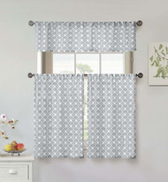 Vera Neumann Collection 3 Piece Small Window Curtain Set: Flower & Vine Design, One Valance, Two Tiers 36 IN Long, 100% Cotton (Gray and White)