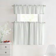 3 Piece Window Curtain Set 100% Cotton Stripe Design, One Valance, Two Tiers 36 IN Long (Gray and White)