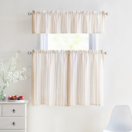 3 Piece Window Curtain Set 100% Cotton Stripe Design, One Valance, Two Tiers 36 IN Long (Taupe and White)