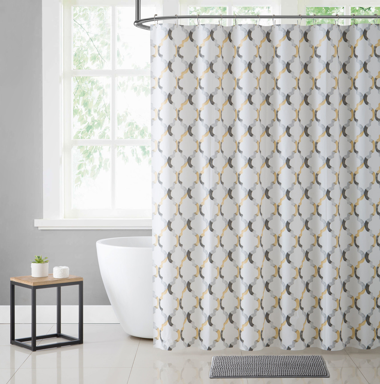 White Yellow And Gray Moroccan Tile Design PEVA Shower Curtain Liner
