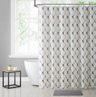 White Yellow and Gray Moroccan Tile Design PEVA Shower Curtain Liner Odorless, PVC and Chlorine Free, Biodegradable, Mildew Free, Eco-Friendly Size 72in x 72in (Oceana Gray & Yellow)