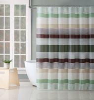 Victoria Classics White Green and Brown Stripe Design PEVA Shower Curtain Liner Odorless, PVC and Chlorine Free, Biodegradable, Mildew Free, Eco-Friendly Size 72in x 72in (Hampton Green)