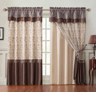 "Single (1) Window Curtain Drapery Panel: Double-Layer , Gold Back Panel with Chocolate Embroidered Sheer Front and Valance, 55""x90"""