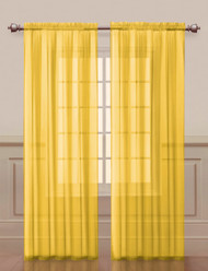 """Bathroom and More Two (2) Sheer Rod Pocket Window Curtain Panels: 108"""" W x 84""""L, Fully Hemmed (Yellow)"""