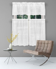 3 Piece Window Curtain Set with Embroidered Metallic Floral Design, One Valance, Two Tiers 36 IN Long (White)