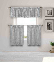 Blackout Energy Saving Gray 3 Piece Window Curtain Set with Silver Metallic Design, One Valance, Two Tiers 36 IN Long Kitchen, Bathroom, Small Window, Motor Home, Boat (Silver)