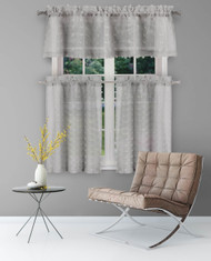 Duck River Textiles Sheer 3 Piece Window Curtain Set with 3D Small Soft Tufts Design, One Valance, Two Tiers 36 IN Long Kitchen, Bathroom, Small Window (Gray)
