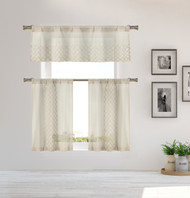 Home Maison Sheer 3 Piece Window Curtain Set with Embroidered Metallic Moroccan Trellis Design, One Valance, Two Tiers 36 IN Long Kitchen, Bathroom, Small Window (Taupe)