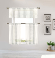 Home Maison Sheer 3 Piece Window Curtain Set with Embroidered Metallic Moroccan Trellis Design, One Valance, Two Tiers 36 IN Long Kitchen, Bathroom, Small Window (White)