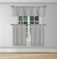 Duck River Textiles Gray and White 3 Piece Window Curtain Set Chevron Zig Zag Design, One Valance, Two Tiers 36 IN Long Kitchen, Bathroom, Small Window (Gray)