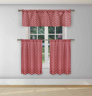 Duck River Textiles Gray and White 3 Piece Window Curtain Set Chevron Zig Zag Design, One Valance, Two Tiers 36 IN Long Kitchen, Bathroom, Small Window (Red)