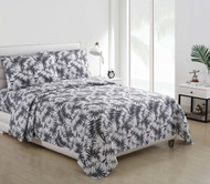 4 Piece Bed Sheet Set Gray and White Beach House Palm Fern Leaves Design (Queen)