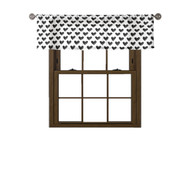 Bathroom and More Collection: 100% Cotton: Window Curtain Valance, Black and White Heart Design, 58W x 15L