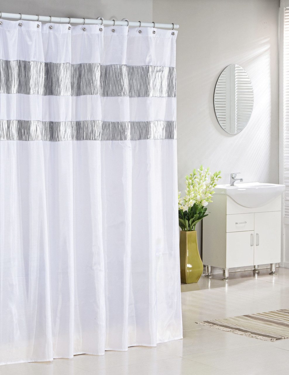 Bathroom And More Collection Extra Long Pure White Fabric Shower Curtain With Silver Metallic Accent Stripes 72 W X 96 L