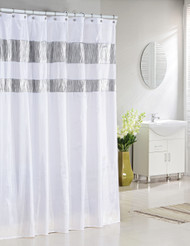 "Bathroom and More Collection Pure White Fabric Shower Curtain with Silver Metallic Accent Stripes (72"" W x 84"" L)"