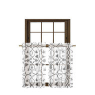 Bathroom and More Collection 2 Piece SHEER Window Curtain Tier Set White with Gray Bird, Flower & Vine Design Size 27in W x 36in L Each (Pair (2) Tiers 36in L Each)
