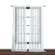 "Bathroom and More Collection Set of Two (2) SHEER Window Curtain Panels: White with Blue Bird, Flower & Vine Design (Panel Pair (2) 84"" L)"
