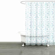 "Bathroom and More Collection White SHEER Fabric Shower Curtain:: Blue Bird, Flower & Vine Design (Shower Curtain 72"" L)"